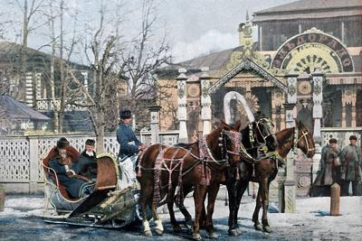 A Troika Sled in Moscow, Russia, C1890