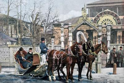 A Troika Sled in Moscow, Russia, C1890 by Gillot