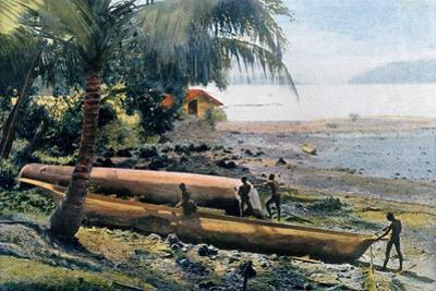 Building Canoes, Andaman and Nicobar Islands, Indian Ocean, C1890 by Gillot