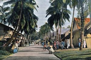 Street in Port Blair, Andaman and Nicobar Islands, Indian Ocean, C1890 by Gillot