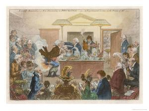 """""""New Discoveries in Pneumatics"""", Satire on the Royal Institution at Table by Gillray"""
