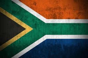 Weathered Flag Of South Africa, Fabric Textured by Gilmanshin