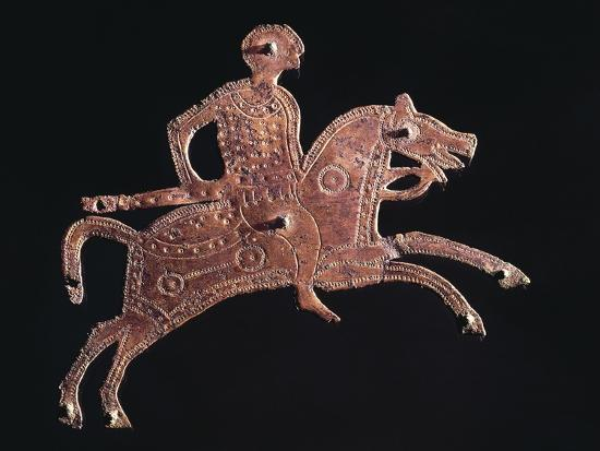 Gilt Bronze Buckle Ornament in Shape of a Horseman, from Stabio, Switzerland--Giclee Print