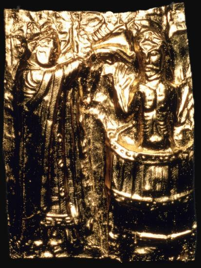 Gilt plaque of King Harald's baptism, 10th century. Artist: Unknown-Unknown-Giclee Print