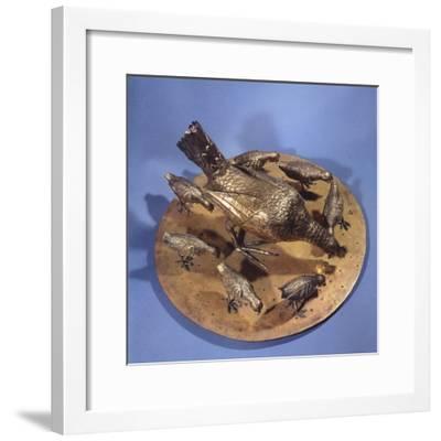 Gilt Silver Hen with Seven Chicks--Framed Giclee Print