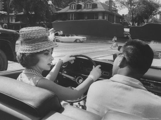 Gina Lollobrigida Taking a Driving Lesson-Peter Stackpole-Premium Photographic Print