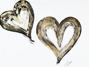 Two Gold and Black Hearts by Gina Ritter