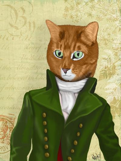 Ginger Cat in Green Coat-Fab Funky-Art Print