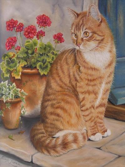 Ginger Cat on Doorstep-Janet Pidoux-Giclee Print