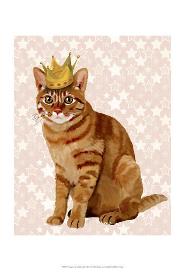 Ginger Cat with Crown Full-Fab Funky-Art Print