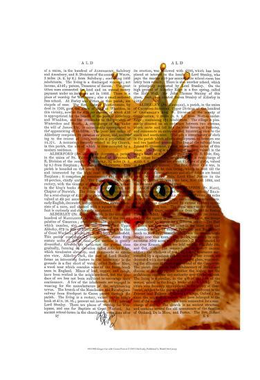 Ginger Cat with Crown Portrai-Fab Funky-Art Print