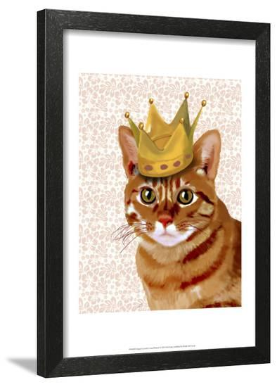 Ginger Cat with Crown Portrait-Fab Funky-Framed Art Print