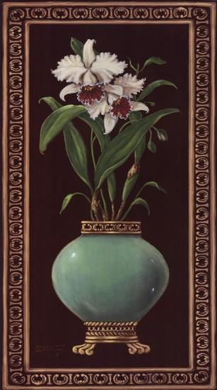 Ginger Jar With Orchids II-Janet Kruskamp-Art Print