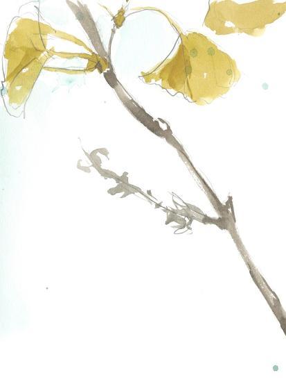 Ginkgo on Dusty Teal VI-Jennifer Goldberger-Premium Giclee Print