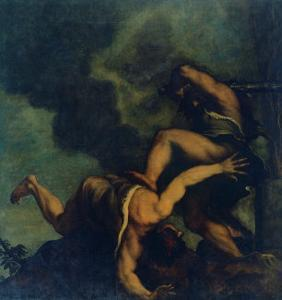 Cain Kills (His Brother) Abel by Gino Boccasile