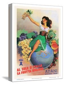 From The Sun In Italy Comes The Best Fruit - Adani Wine by Gino Boccasile