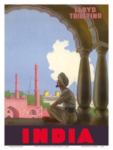 India - Lloyd Triestino Italian Shipping Company by Gino Boccasile