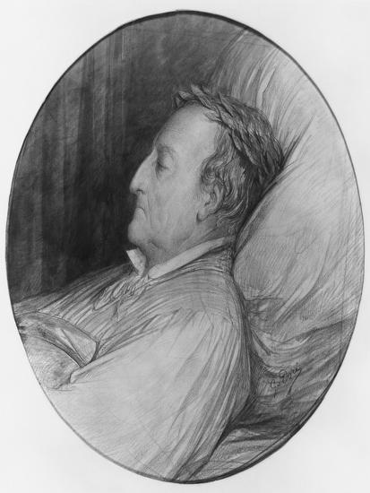 Gioacchino Rossini on His Deathbed, 1868 (Charcoal and Gouache Highlights on Paper)-Gustave Dor?-Giclee Print
