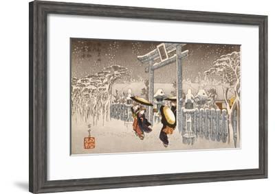 Gion Shrine In Snow-Ando Hiroshige-Framed Premium Giclee Print