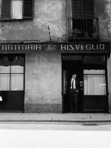 Giorgio Gaber at the Entrance of the Eating House Trattoria Del Risveglio