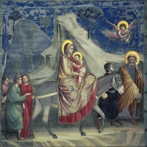 Flight into Egypt, 1303-1305 by Giotto di Bondone