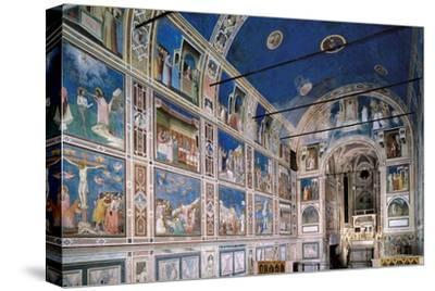 Interior of Scrovegni Chapel with Fresco cycle by Giotto, c. 1304-1306. Padua, Italy
