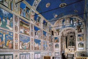 Interior of Scrovegni Chapel with Fresco cycle by Giotto, c. 1304-1306. Padua, Italy by Giotto di Bondone