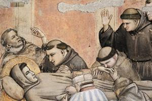 Italy, Florence, Basilica of Holy Cross, Bardi Chapel, Death of St Francis by Giotto di Bondone