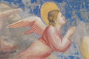 Life of Christ, Angel at the Nativity by Giotto di Bondone