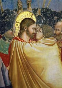 The Betrayal of Christ, Detail of the Kiss, circa 1305 by Giotto di Bondone