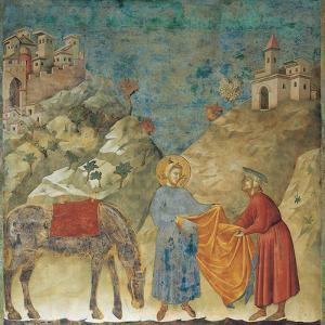 The Gift of the Mantle by Giotto di Bondone