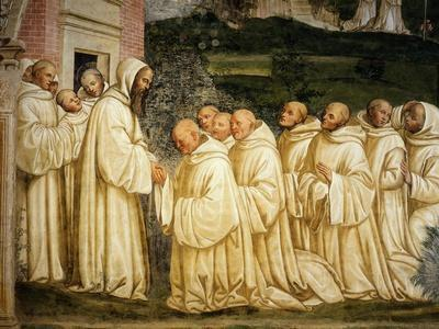 St Benedict of Nursia (480-550) Prays with his Monks, Fresco