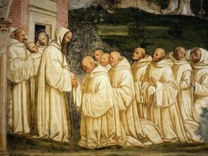 St Benedict of Nursia (480-550) Prays with his Monks, Fresco by Giovanni Antonio Bazzi Sodoma