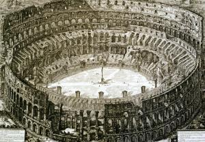 """Aerial View of the Colosseum in Rome from """"Views of Rome"""" by Giovanni Battista Piranesi"""