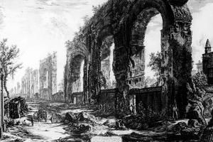 View of the Aqueduct of Nero, from the 'Views of Rome' Series, C.1760 by Giovanni Battista Piranesi