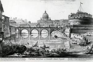 View of the Bridge and Castel Sant'Angelo, from the 'Views of Rome' Series, C.1760 by Giovanni Battista Piranesi