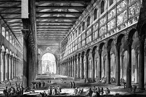 View of the Interior of Basilica of San Paolo Fuori Le Mura, from the 'Views of Rome' Series,… by Giovanni Battista Piranesi