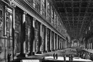 View of the Interior of Santa Maria Maggiore, from the 'Views of Rome' Series, C.1760 by Giovanni Battista Piranesi