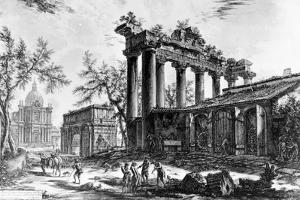 View of the Temple of Concord with the Arch of Septimius Severus and the Church of Santa Martina,… by Giovanni Battista Piranesi
