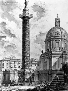 View of Trajan's Column and the Church of Ss Nome Di Maria, from the 'Views of Rome' Series, C.1760 by Giovanni Battista Piranesi