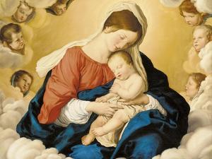 The Madonna and Child in Glory with Cherubs by Giovanni Battista Salvi da Sassoferrato