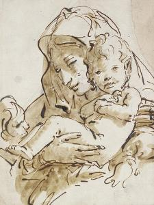 The Virgin and Child with the Infant St John (Pen and Brown Ink with Brown Wash over Black Chalk on by Giovanni Battista Tiepolo