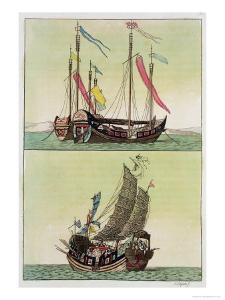 Two Kinds of Chinese Junk, Le Costume Ancien et Moderne, c.1820-30 by Giovanni Bigatti
