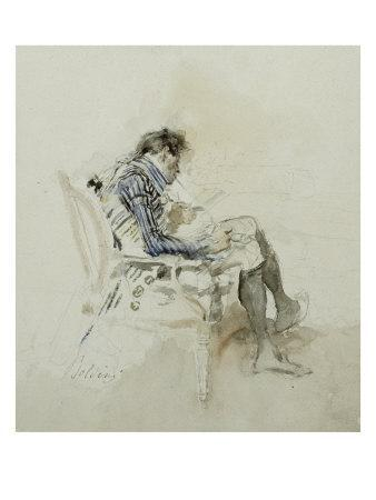 Gentleman Seated in Armchair Reading Book and Smoking Pipe, 19th Century