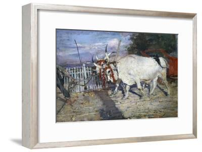 Ox Cart, 1885, by Giovanni Boldini (1842-1931), Oil on Panel, 17X25 Cm. Italy, 19th Century