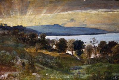 Landscape with Sun Effect, Painting by Nino Costa (1826-1903), Italy, 19th Century