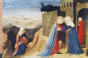 Mary's Visit to Elizabeth, Detail from the Predella of the Annunciation of Cortona, Ca 1430 by Giovanni Da Fiesole