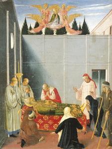 Predella Depicting the Death and Ascension of St Nicholas, Perugia Altarpiece, 1438 by Giovanni Da Fiesole