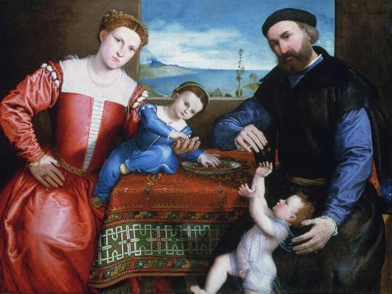 Giovanni Della Volta with His Wife and Children, C1547-Lorenzo Lotto-Giclee Print