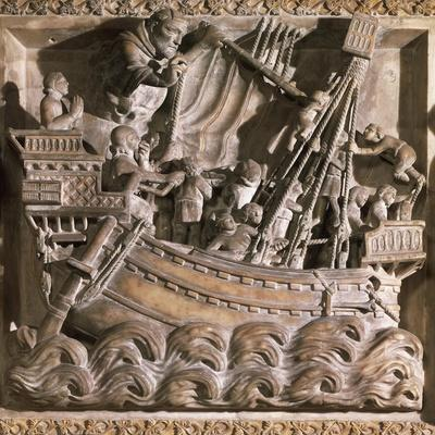 Ship in Storm, Detail from Tomb of Saint Peter Martyr, 1339